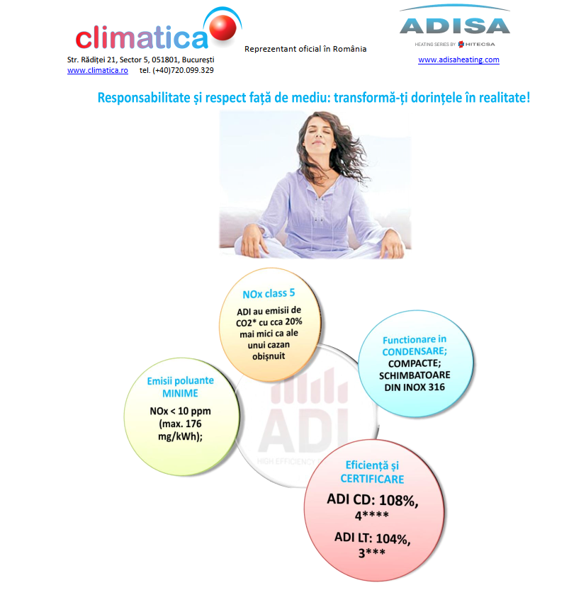 Adisa - Centrala termica in condensatie - Climatica excelenta in climatizare.